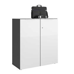 Büroschrank in Weiß glasbeschichtet Anthrazit