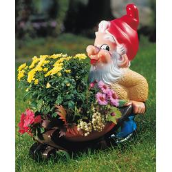 Bepflanzbarer Zwerg mit Blumenkarre 43 x 45 cm