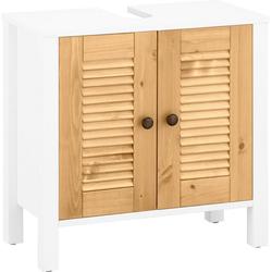 Home affaire Waschbeckenunterschrank Ayanna aus Massivholz, Höhe 57 cm weiß