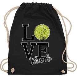 Shirtracer Turnbeutel Love Tennis - Tennis - Turnbeutel schwarz