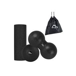 MSports® Pilatesrolle Faszienrolle Set Black Premium Faszienball Peanutball Mini Faszienrolle - Professional Studio Qualität Faszien Set - Massagerolle Foamroller schwarz