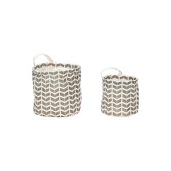 Hübsch Korb mit Griff 2 Stück rund grau / weiß
