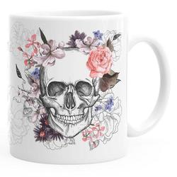 Autiga Tasse Kaffee-Tasse Totenkopf Blumen Flower Skull Boho Schädel Teetasse Keramiktasse Autiga®, aus Keramik mit Aufdruck