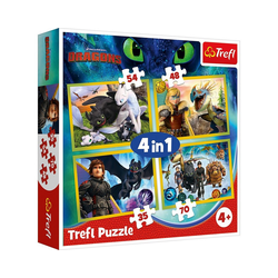 Trefl Puzzle Puzzle 4 in 1 - Universal How to Train Your Dragon, Puzzleteile