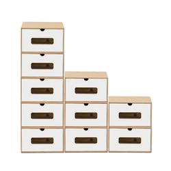 BigDean Schuhbox 10er Set weiß braun mit Sichtfenster & Schublade aus Pappe Schuhkasten Schuhkarton Aufbewahrung stapelbar