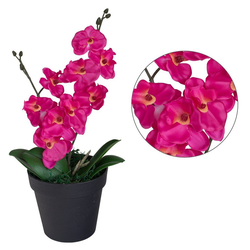 Kunstpflanze Künstliche Orchidee Topfpflanze Kunstpflanze Pflanze Rosa Pink 35 cm Decovego, Decovego