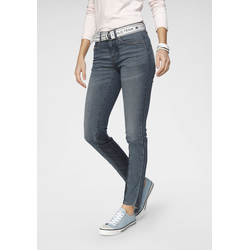 TOM TAILOR Polo Team Slim-fit-Jeans, (Set, 2 tlg., mit abnehmbarem Gürtel), sportivem Logo-Gürtel blau Damen Röhrenjeans Jeans Slim-fit-Jeans