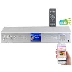 WLAN-HiFi-Tuner mit Internetradio, DAB+, UKW, Streaming, MP3, silber