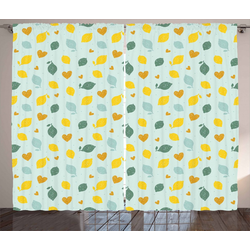 Gardine Schlafzimmer Kräuselband Vorhang mit Schlaufen und Haken, Abakuhaus, Zitronen Gekritzeltes Zitronen-Entwurf 280 cm x 260 cm