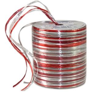 PRÄSENT RAFFIA PEARL-Multicolour Bastband rot / silber / bordeaux, 50 m metallic Dekoband für Präsente, zum Verzieren & Basteln, Geschenkband für feierliche Anlässe