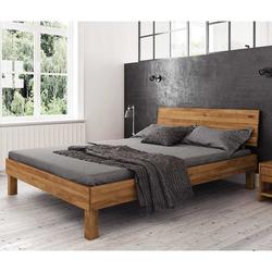 Niedriges Bett aus Wildeiche Massivholz modern