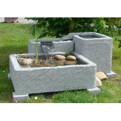 Terrassen- und Gartenbrunnen Arni, Granitwerkstein hellgrau gestrahlt