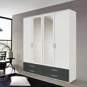 Kleiderschrank Rasant-Extra Schrank 4-türig weiß grau metallic Spiegel 168 cm