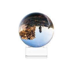 Navaris Dekoobjekt, Glaskugel Fotografie Kugel aus K9 Glas - Fotokugel mit Ständer - Kristallkugel klare Kristall Deko mit Glasständer - Ø 70mm