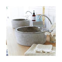 Tikamoon Waschbecken Waschbecken aus Marmor Exo Stri grey
