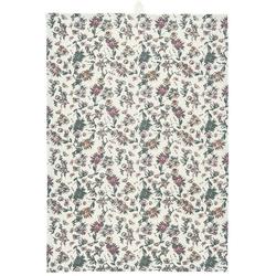 Ib Laursen Geschirrtuch IB Laursen Geschirrtuch Weiß Blumen in Faded Rose und Grau
