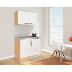 RESPEKTA Küchenzeile, mit Glaskeramikkochfeld und Kühlschrank, Breite 100 cm weiß