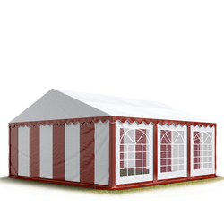 Toolport Partyzelt 4x6m PVC 500 g/m² rot wasserdicht Gartenzelt, Festzelt, Pavillon
