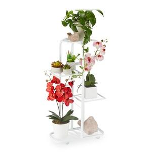 Relaxdays Blumentreppe Metall, 4-stufige Blumenetagere, draußen & drinnen, HBT: 81 x 44 x 24,5 cm, Pflanzenregal, weiß