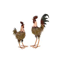 BIRENDY Dekofigur Riesiges schönes Metall Figurenpaar Hahn und Henne Set W-G Gartenfigur Dekofigur