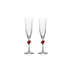 Stölzle Champagnerglas L'AMOUR Champagnerkelch rot 2er Set (2-tlg), Glas