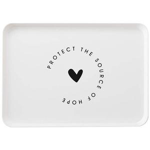 Toruiwa Serviertablett Rechteck Tablett Betttisch Betttablett Frühstückstablett Dekotablett aus PP mit Griff Aufbewahrungsbox für Hochzeit Restaurant Hotel Cafés Weiß