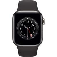 Apple Watch Series 6 GPS + Cellular 40 mm Edelstahlgehäuse graphit, Sportarmband schwarz