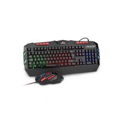 Rii RK900+ Tastatur- und Maus-Set, Gaming Tastatur mit Maus Set, RGB Hintergrundbeleuchtung, verstellbare DPI