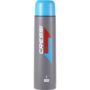 Cressi Unisex-Adult Stainless Steel Thermal Flask 1 l Sport-Thermoflasche aus Edelstahl, Antrazit/Aquamarine