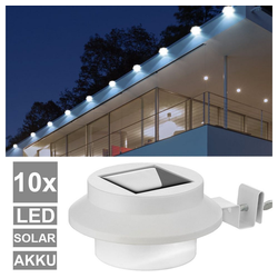 etc-shop LED Aufbaustrahler, 10er Set LED Solar Lampen Dachrinnen Leuchten Garagen Zaun Beleuchtung Strahler weiß