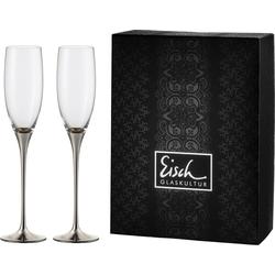 Eisch Sektglas Champagner Exklusiv (2-tlg), Kristallglas, Auflage in Platin, 180 ml