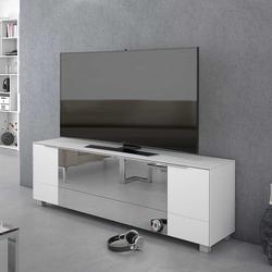 TV Unterschrank in Weiß schalldurchlässigem Spiegelglas versehen