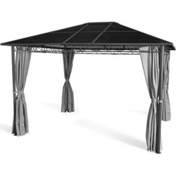 Grasekamp Hardtop Pavillon Meran 3x3,6m mit  Seitenteile Doppelstegplatten Hohlkammer  Polycarbonat