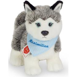 Teddy Hermann® Kuscheltier Husky mit blauem Halstuch, 23 cm, mit individueller Bestickung
