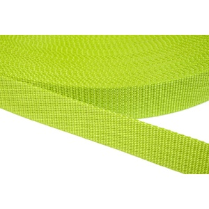 Jajasio PP Gurtband 20mm breit aus Polypropylen, 1.2mm Stark in 41 Farben 33 - Lime 50 Meter
