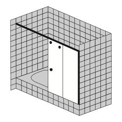 Sprinz Topas 2-teilige Schiebetür für Badewannenrand mit Wandbefestigung, teilgerahmt