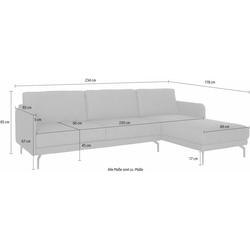 hülsta sofa Ecksofa hs.450, mit schmaler Armlehne grau