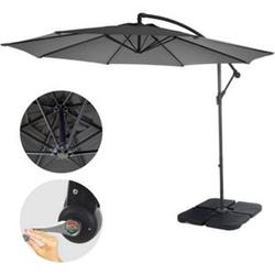 Ampelschirm Terni, Sonnenschirm Sonnenschutz, Ø 3m neigbar, Polyester/Stahl 11kg ~ grau mit Ständer