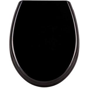 LARS360 Toilettendeckel WC Sitz mit Absenkautomatik, Oval Toilettensitz Antibakteriell Klodeckel Klobrille aus Duroplast, Reines Schwarz Muster WC Sitz für Meisten klodeckel Hänge WC Spülrandloses WC