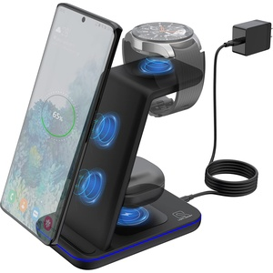Kabelloses Ladegerät, ZHIKE 3 in 1 Wireless Charger mit QC 3.0 Adapter 15W Qi Ladestation Kompatibel mit iPhone 12 Series, Samsung S20/Note 20/S10, Galaxy Active 2,1/Gear S3/S2/Sport and Buds