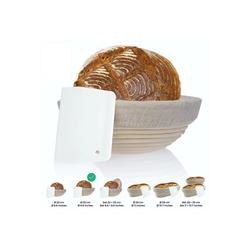 riijk Gärkorb Gärkorb inkl. Gratis Teigschaber, Gärkörbchen + Teigschaber – Der ideale Gärkorb aus natürlichem Peddigrohr (rund, 25 cm) – mit Leineneinsatz, rostfrei geklammert Ø 25 cm x 25 cm x 25 cm x 8 cm