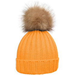 styleBREAKER Bommelmütze Strickmütze mit Kunstfellbommel Strickmütze mit Kunstfellbommel orange