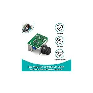 CamKpell 1Pc 220V 2000W Drehzahlregler SCR Spannungsregler Dimmdimmer Thermostat Elektronisches Formspannungsreglermodul - Grün & Silber