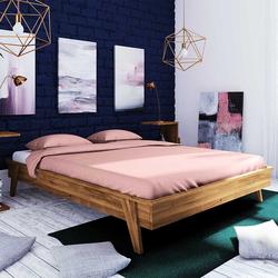 Holzbett für Dachschräge Wildeiche Massivholz