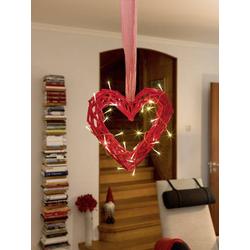 Konstsmide 6217-550 Holz-Figur Herz LED Rot