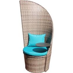 Leco Rattan Gartenstuhl Business + Tisch Gartensessel Garten Stuhl Sessel Möbel