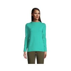Sweatshirt aus Ottoman, Damen, Größe: L Normal, Blau, Jersey, by Lands' End, Mintgrün Petrol - L - Mintgrün Petrol