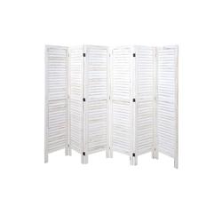 MCW Paravent MCW-G30-240, 6-teiliger Paravent, Fensterladenoptik weiß