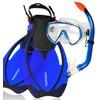 Aquazon AQUAZON Taucherbrille AQUAZON MIAMI Schnorchelset, Schwimmset, Tauchset, Taucherbrille mit anti fog tempered glas, Silkon, Semi Dry Schnorchel, verstellbare Flossen für Kinder blau 27/31
