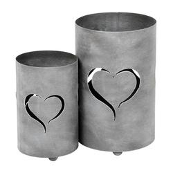 Levandeo® Laterne, 2er Set Windlicht Herz H32cm Grau Laterne Gartenleuchte Kerzenhalter Garten Deko grau